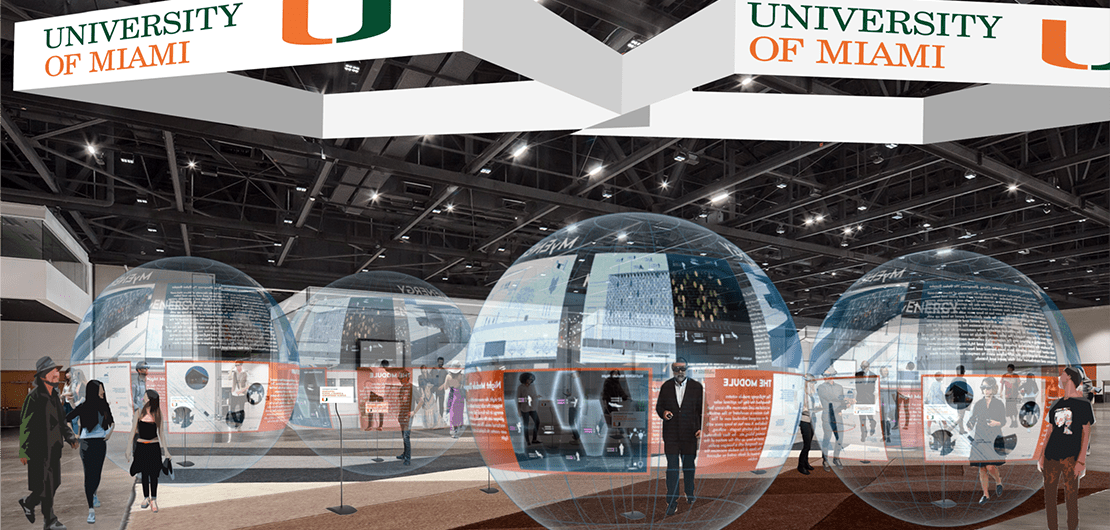 Dean Rodolphe el-Khoury in extended reality XR bubble at futuristic Pavilion by University of Miami Rad-UM Lab illustration by Christopher Chung