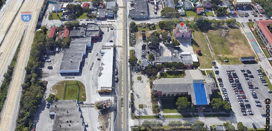 Aerial view via Google Maps of Nuestra Senora de la Merced Chapel, Allapattah, Miami