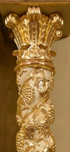 Ornate golden column at Nuestra Senora de la Merced Chapel, Allapattah, Miami