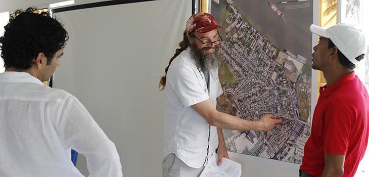 University of Miami Data Scientist Tim Norris in barrio Las Flores, Barranquilla, Columbia, Vernacular cartography, participatory mapping