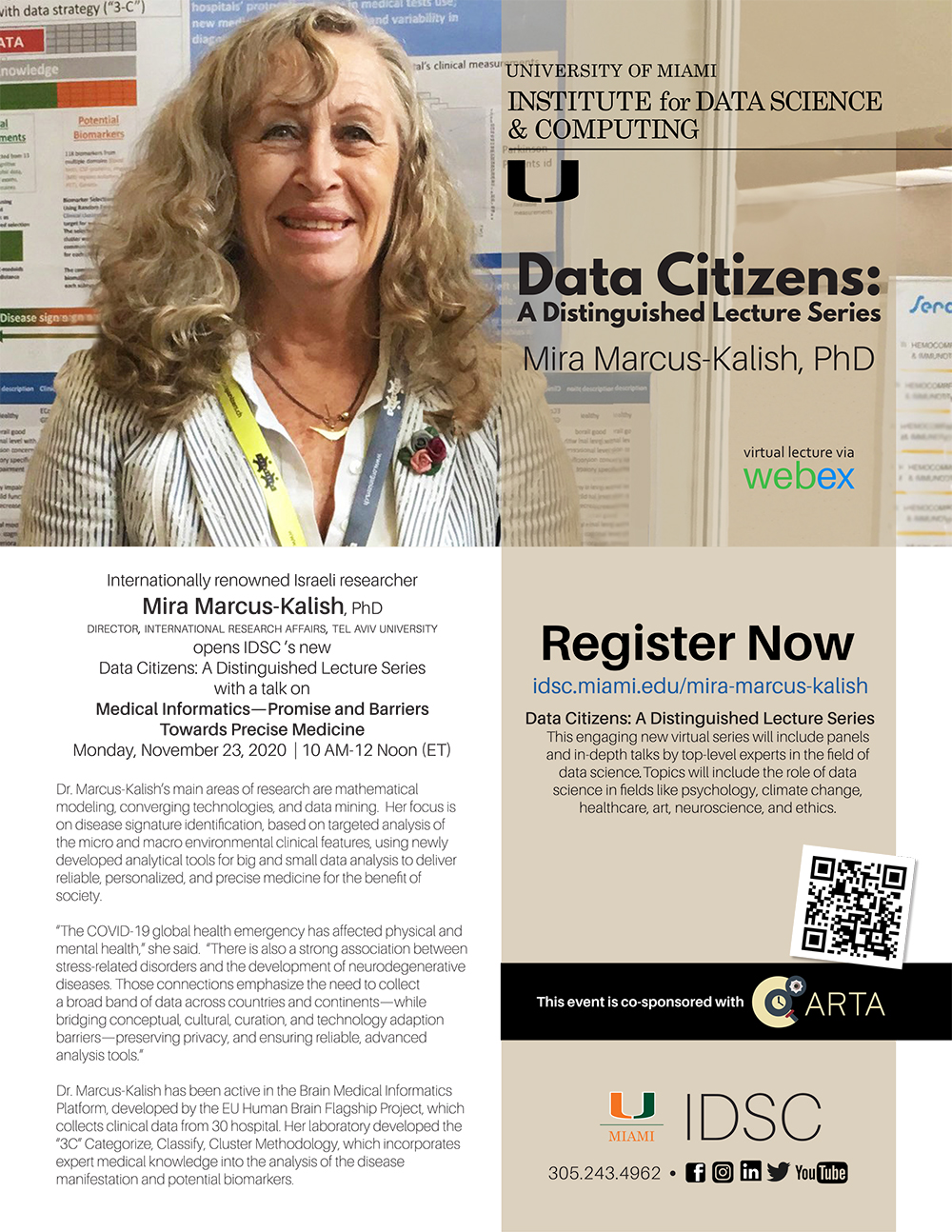 University of Miami Institute for Data Science and Computing, Data Citizens: A Distinguished Lecture series, Dr. Mira Marcus-Kalish, Monday, November 23, 2020 FLYER