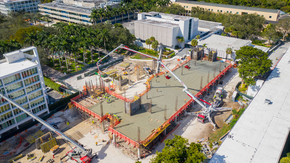 University of Miami Frost Institutes building under construction Spring 2021