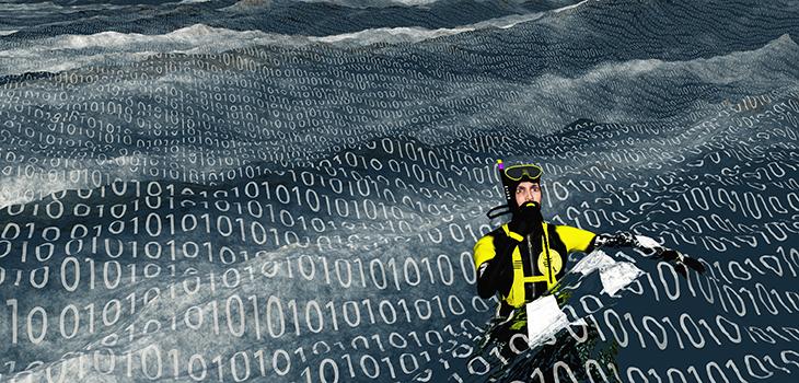 diver floating in data