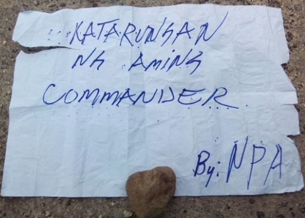 NPA Note Left Near The Scene Of The Kidnapping