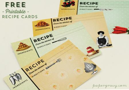 Printable Vintage Recipe Cards