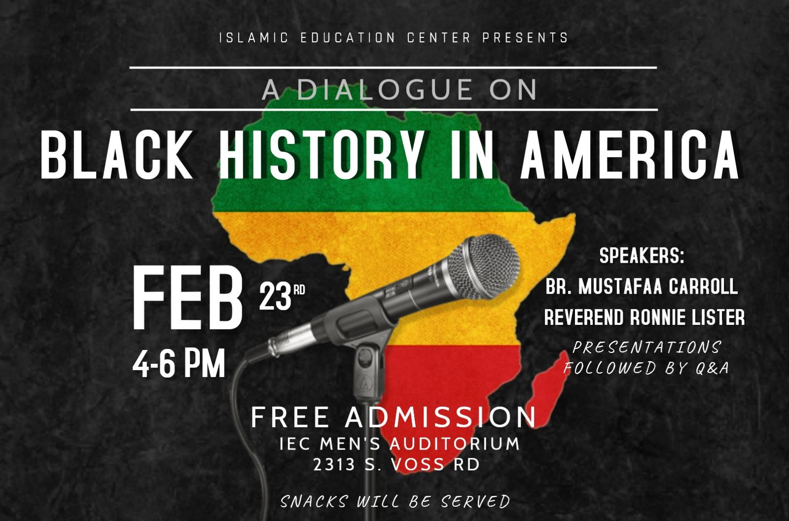 A Dialogue on Black History In America – Islamic Education