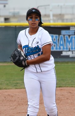 Photo/Richard Dawson Grand Terrace junior Melanie Olmos pitched a complete game during a 10-1 non-league win over Rolling Hills Prep at Grand Terrace High School on Saturday, May 9.