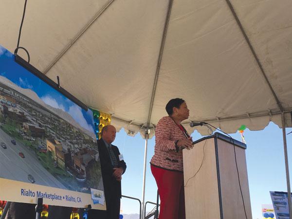 iecn photo/yazmin alvarez Rialto Mayor Deborah Robertson said during groundbreaking ceremonies Oct. 22, the new retail center will help bring more than 200 jobs to the area.
