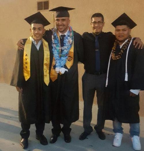 Photo Courtesy/Miguel Alatorre 2016 Arroyo Valley High School graduating soccer players with coach Miguel Alatorre. From Left: Andres Pelayo; Ivan Quintero, Alatorre; Cesar Enciso.