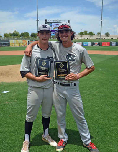 Photo Courtesy/Colton Nighthawks Colton Nighthawks Jonathan Longtin (L) and Patrick Keller were team MVP's of the Connie Mack World Series Qualifier. Outfielder Keller threw out a runner at the plate to end the title game to preserve the 3-2 win. Longtin was the winning pitcher.