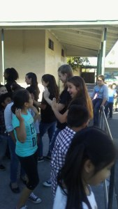 Photo/MJ Duncan Aubree Archibeck engages with students after the assembly that promotes self worth, value and love.