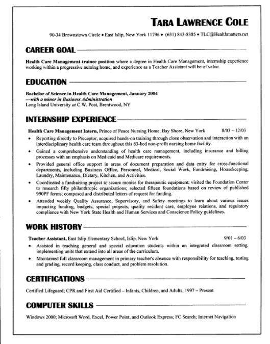 Chronological Resume  Resume Chronological