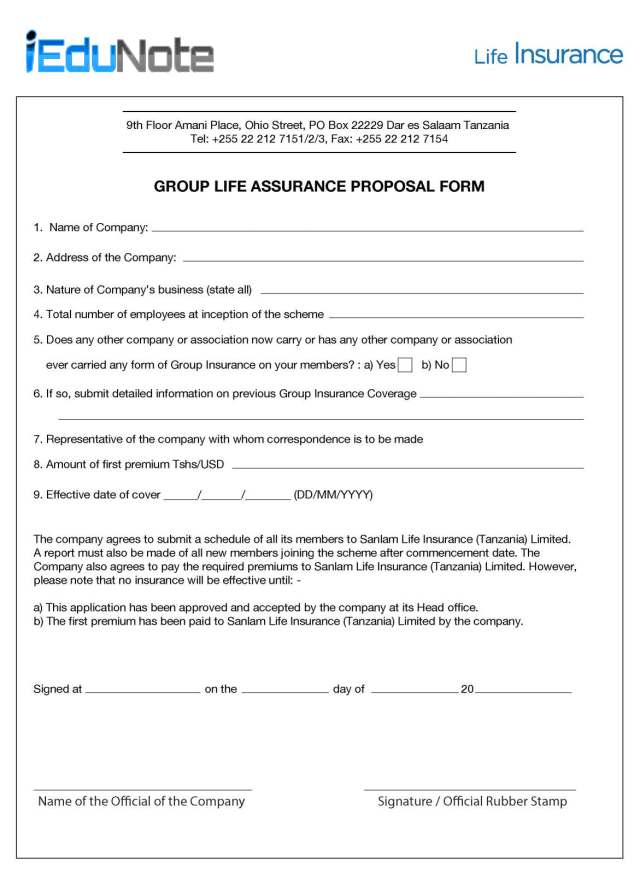 Insurance Proposal Form