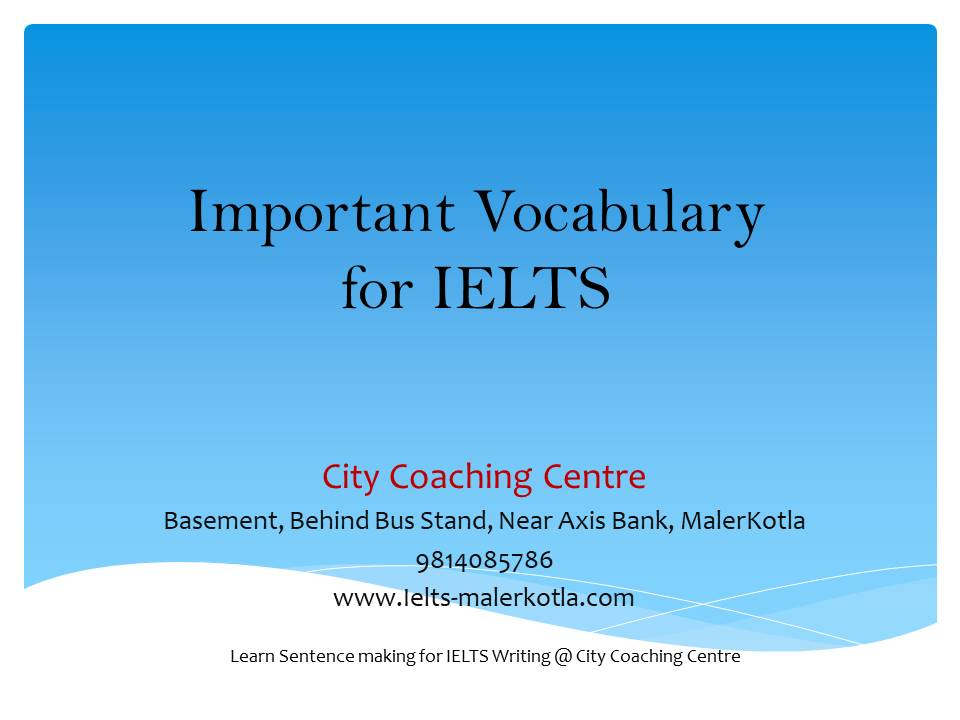 important vocabulary for IELTS