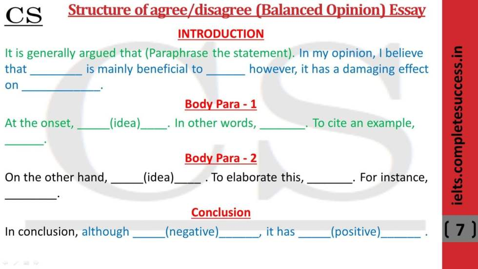 structure of opinion essay