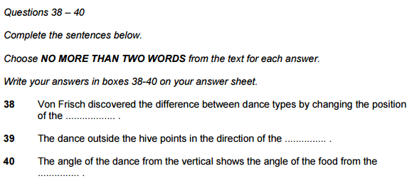 IELTS reading Sentence completion
