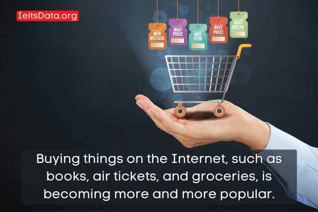 Buying things on the Internet, such as books, air tickets, and groceries, is becoming more and more popular.