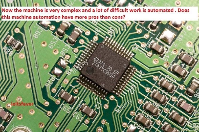 Now the machine is very complex and a lot of difficult work is automated . Does this machine automation have more pros than cons? ielts exam