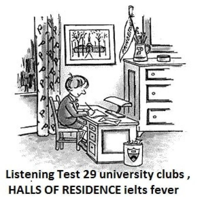 Listening Test 29 university clubs ,HALLS OF RESIDENCE ielts exam