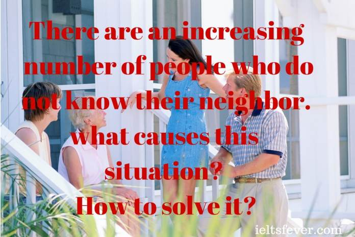 increasing number of people who do not know their neighbor