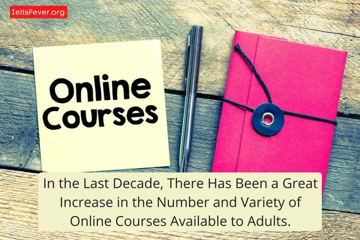 In the Last Decade, There Has Been a Great Increase in the Number and Variety of Online Courses Available to Adults. Online Study