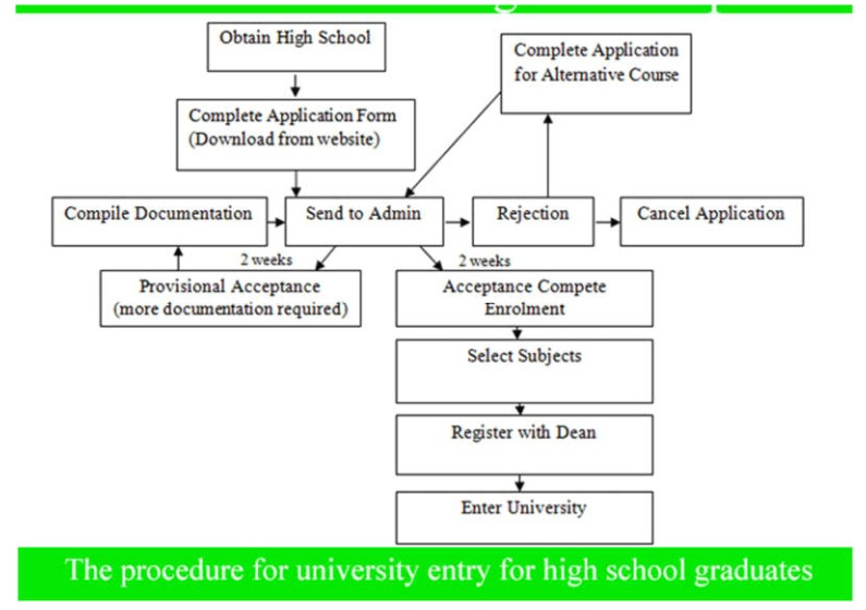The diagram shows the procedure for university entry for high school graduates. Write a report for a university or college lecturer describing the information. Write at least 150 words