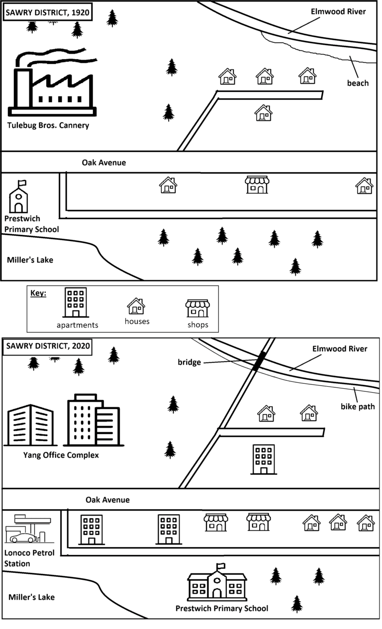 The diagrams below show changes that have taken place in the Sawry District neighbourhood since 1920