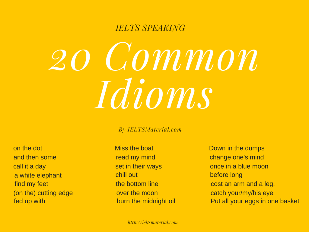 Free 22 Common Idioms Amp Their Proper Usages In Ielts