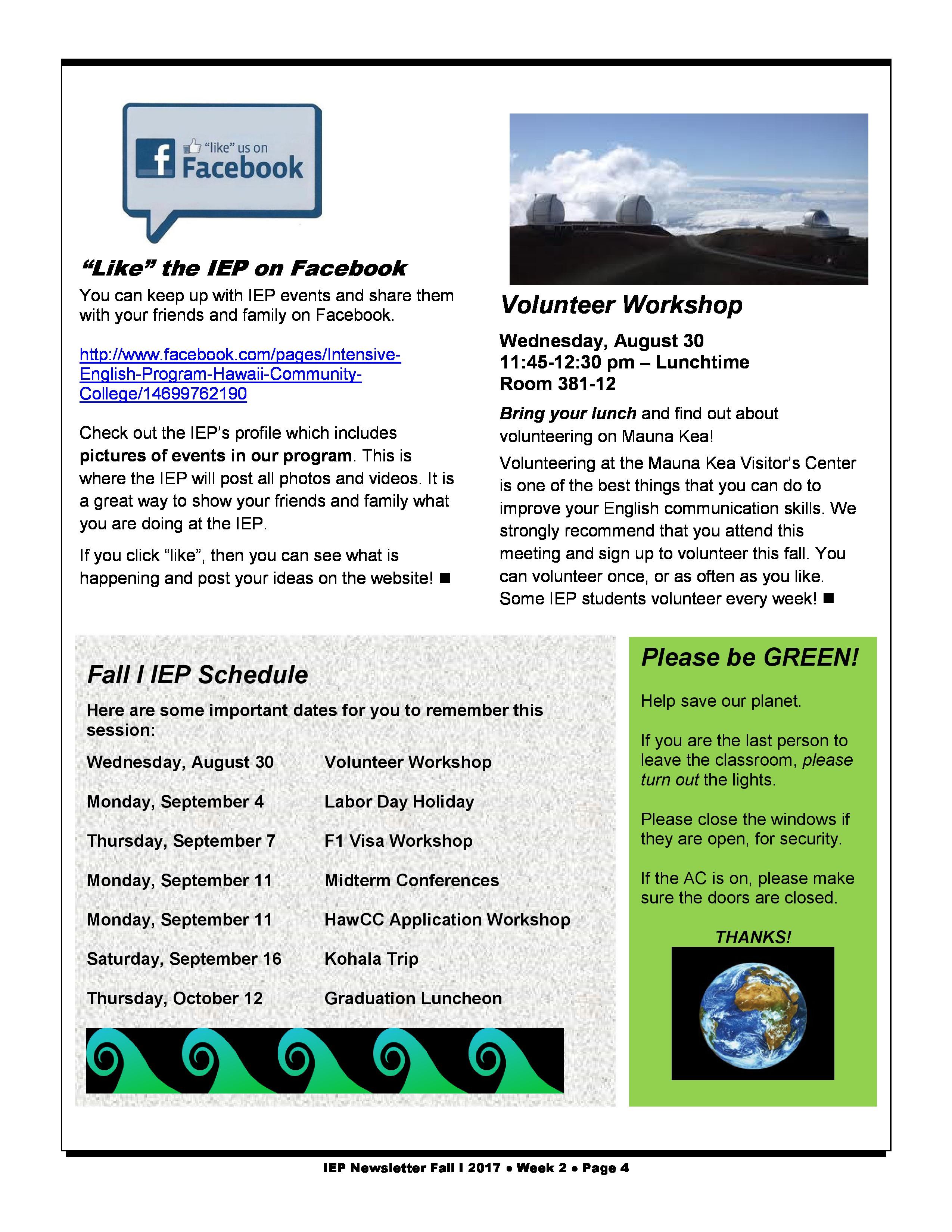 IEP Newsletter Week 2 Fall I 2017 - Intensive English Program - Hawaiʻi Community College