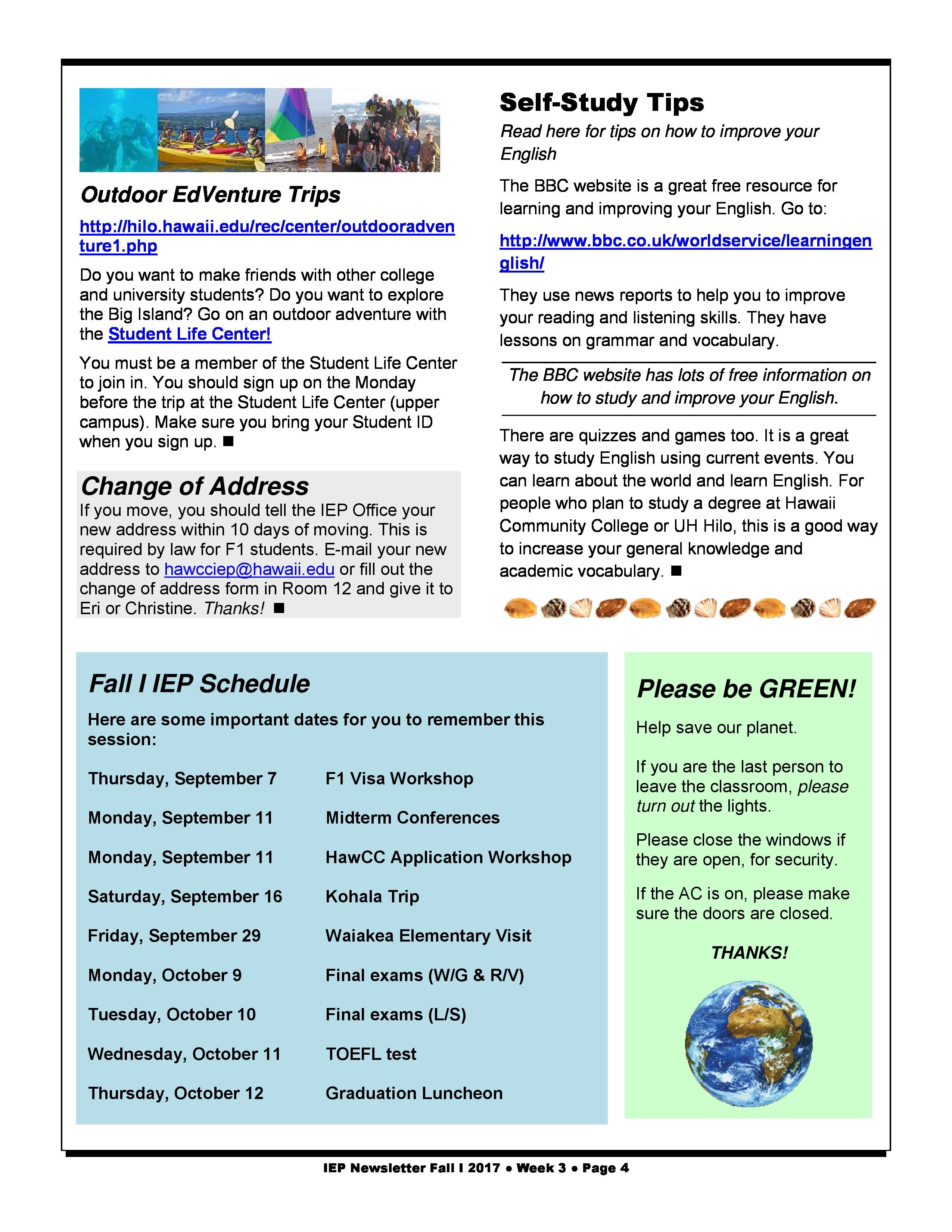IEP Newsletter Week 3 Fall I 2017 - Intensive English Program - Hawaiʻi Community College