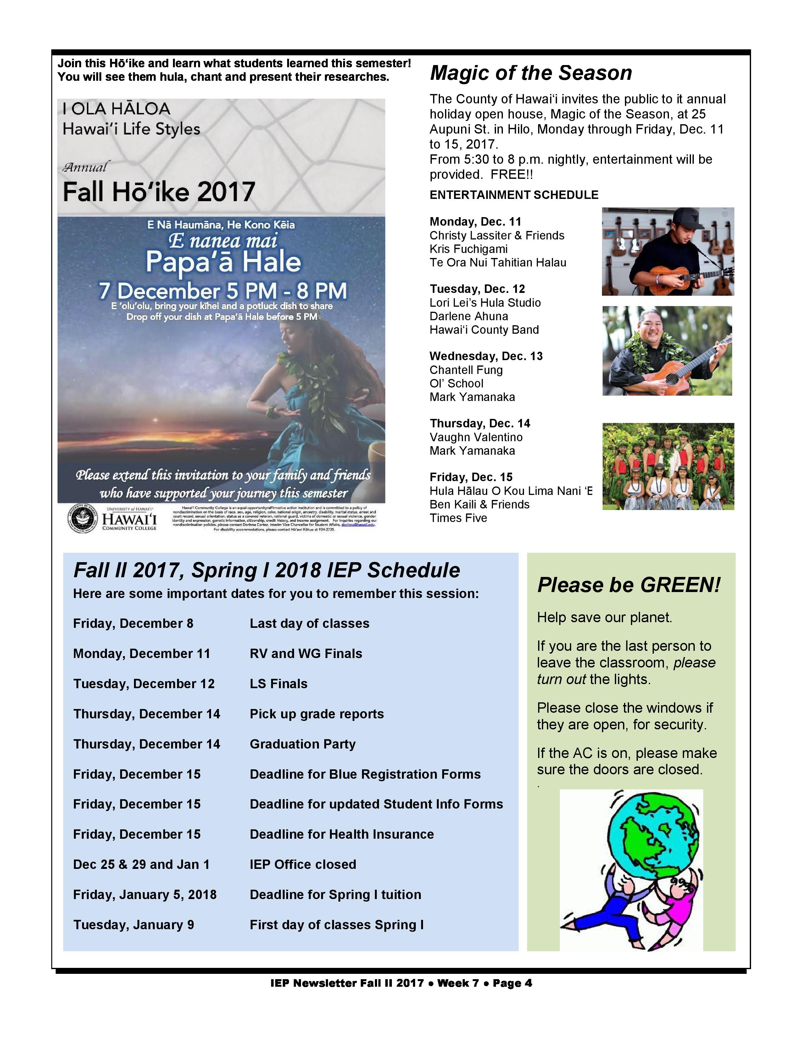 IEP Newsletter Week 7 Fall II 2017 - Intensive English Program - Hawaiʻi Community College