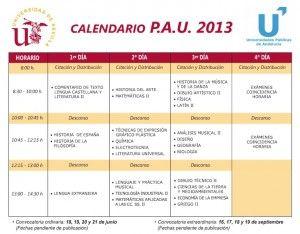 Calendario selectividad 2013