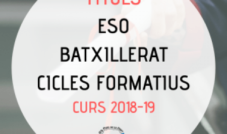 Títols ESO, batxillerat i cicles formatius 2018-19