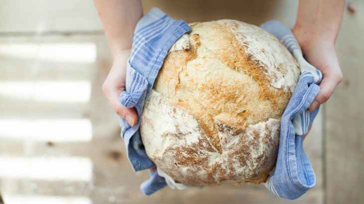 bread food fresh hands
