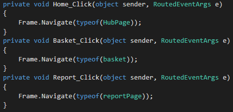 C# navigation menu code