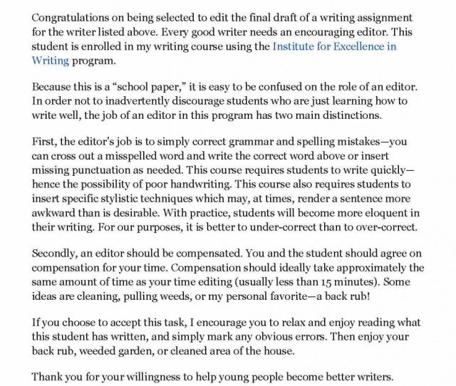 Sending A Letter Or Message Such As This Serves To Affirm The Importance Of The Editors Role Along With Encouraging Students That Their Editor Doesnt