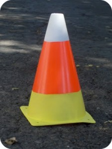 Candy Corn Traffic Cone creative halloween craft ideas