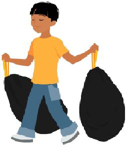 children and chores boy taking out trash