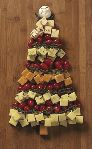 Cheese and Tomato Christmas Tree