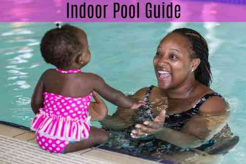 kids swimming lesson in indoor pool.