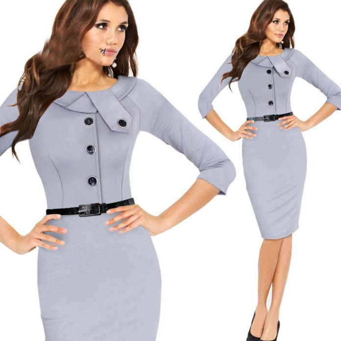 New-Women-Casual-Dress-Elegant-Party-Vintage-Polka-Solid-Work-Clothing-Office-Wear-Without-Belt-Free