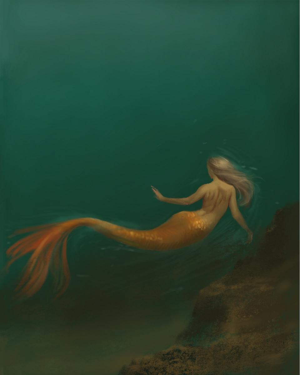 Mermaid in Deep Sea Digital Art
