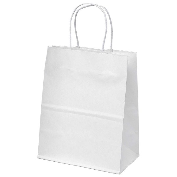 White Kraft Paper Bags Merchandise Shopping Party Favor ...