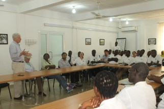 Scott Angle addresses IFDC office staff in Tamale, Ghana.
