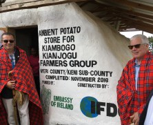 Scott Angle (right) and Dr. Vincent O'Neill (left), Irish Ambassador to Kenya, inaugurate a new potato storage facility to support Kenyan potato farmers.