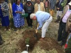 Scott Angle plants a tree to mark the potato storage inauguration.
