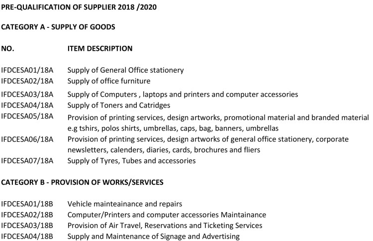 Kenya Supplier Qualification - IFDC