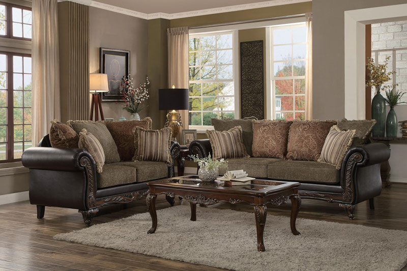 CODY Traditional Living Room Couch Set NEW Brown Wood Trim