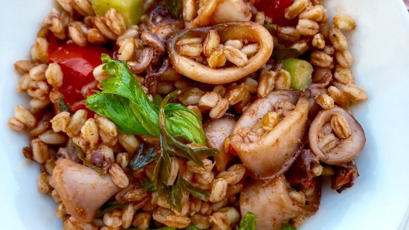 Farro freddo con calamaretti al pomodoro, sedano e pomodorini secchi