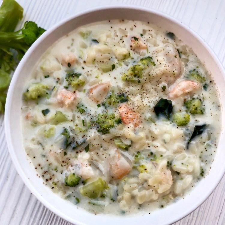 Risotto cremoso ai broccoli e gamberetti